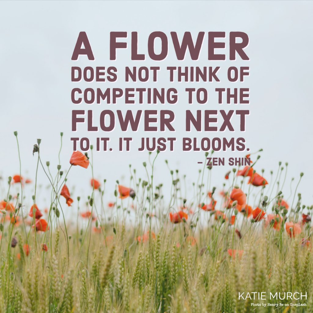 Quote is in front of a landscape view of tall grass, orange poppies, and a blue sky. Katie Murch and photo credit is on the bottom right of the image.