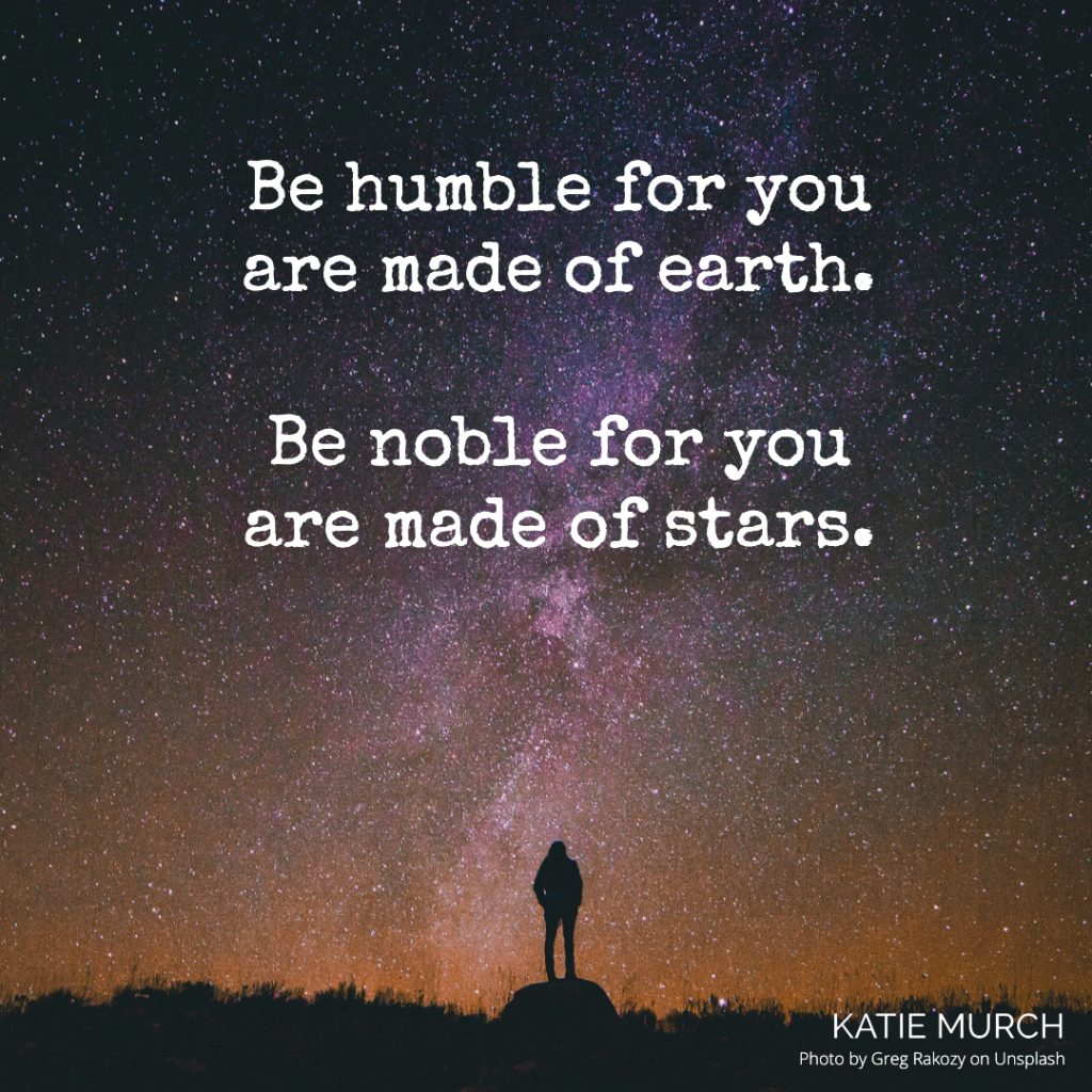Quote is in front of a small silhouette of a person standing on a rock with tall grass next to it. The person is under a night sky with thousands of stars and the Milky Way. Katie Murch and photo credit is on the bottom right of the image.