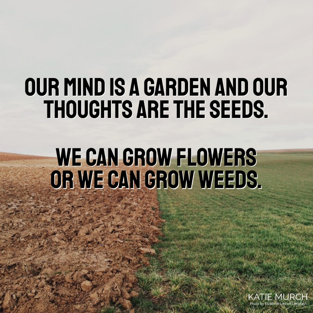 Quote is in the middle and in front of a field that is half dirt and half grass. Katie Murch and photo credit is on the bottom right of the image.