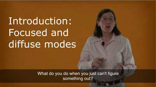 """A yellow slide shows a white, older woman with brown shoulder-length hair and thin-framed circle glasses talking to the camera. She is wearing a light pink shirt and blue jeans with a brown leather belt with gold caps. On her right is the white text of """"Introduction: Focused and diffuse modes."""" The captions show """"What do you do when you just can't figure something out?"""""""